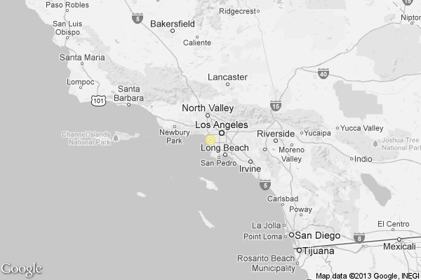 A map showing the location of the epicenter of Sunday evening's quake near Marina del Rey, California.