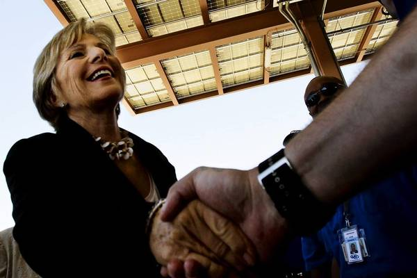 Sen. Barbara Boxer, shown dedicating a solar canopy in 2011, finds herself at odds wtih environmentalists over a move to impose deadlines on the review of water projects.