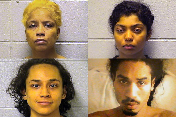 Clockwise from top left, Keetha Moore-Bankhead, 48, daughter Maria Moore, 17, son Ozzie Moore, 24, and family friend Luis Pacheco, 18. Moore is hospitalized with chest pains, police said.