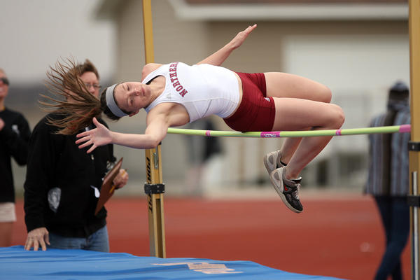 Northern State's Leandra Schlecht competes in the high jump during the NSIC multi-events on Sunday at Swisher Field.