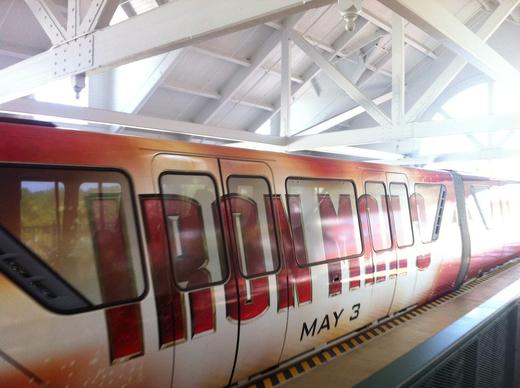 The black monorail was converted to an Iron Man 3 promotion in April 2013. The film comes on on May 3.