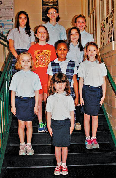 St. Mary Catholic School in Hagerstown announced its Good SAMS award winners for March. The students are, row one, Claire OConnor. Row two, from left, Brynn Lietuvnikas, Christen Sellers and Gracie Minahan. Row three, Morgan McMahon and Norah Cvijanovich. Row four, Katherine Alexander, Abigail Theis and Sofia Corsi. Not pictured is Brianna Ellis.