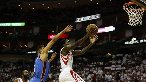 Police are investigating an alleged death threat directed at Patrick Beverley of the Houston Rockets by a ball boy for the Oklahoma City Thunder. Above, Beverley scores against the Thunder.