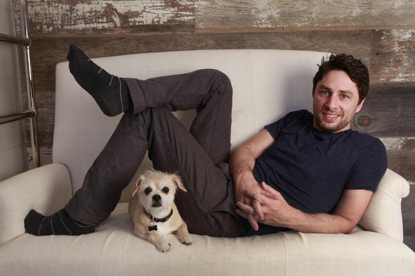 Zack Braff at his New York home with his dog, Roscoe.