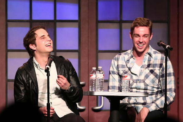 Matt Hovde, left, artistic director at The Second City, interviews Book of Mormon stars Ben Platt, center, and Nic Rouleau during a talk-back with The Second City students on Friday.