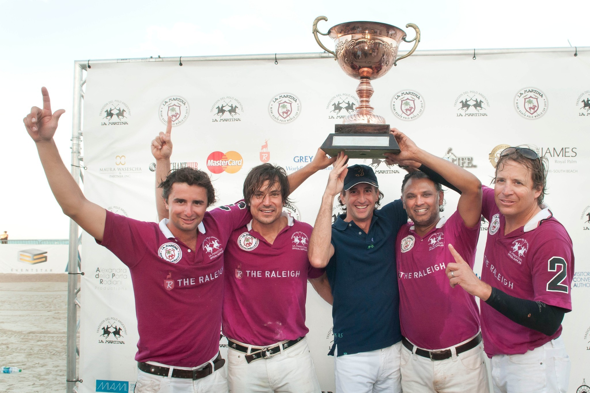 Miami Beach Polo - Juan Monteverde, David Totari, Bash Kazi and John Gobin] with Adrian Simonetti, CEO of La Martina.