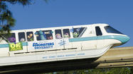 "If you riding the monorails around Disney, there's a bigger chance you'll see something special. For the first time, Disney World is sporting not one, but two specially designed monorails -- one for ""Iron Man 3"" and one for ""Monsters University."""