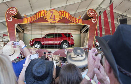 The redesigned 2014 Toyota 4Runner mid-size SUV is revealed at the Stagecoach Country Music Festival Saturday, April 27, 2013 in Indio, Calif., near Palm Springs.  The event marks the automaker¿s first-ever public reveal at a major music festival. The Toyota 4Runner, now in its fifth generation, has been in the Toyota SUV lineup for nearly three decades.  Photo: Joe Polimeni/Toyota