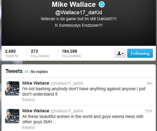 A screen shot from Miami receiver Mike Wallace's Twitter feed, before two controversial tweets were deleted.