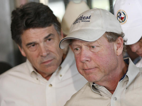 Mayor Tommy Muska, right, was grim during a news conference with Texas Gov. Rick Perry in West, Texas, on April 19.