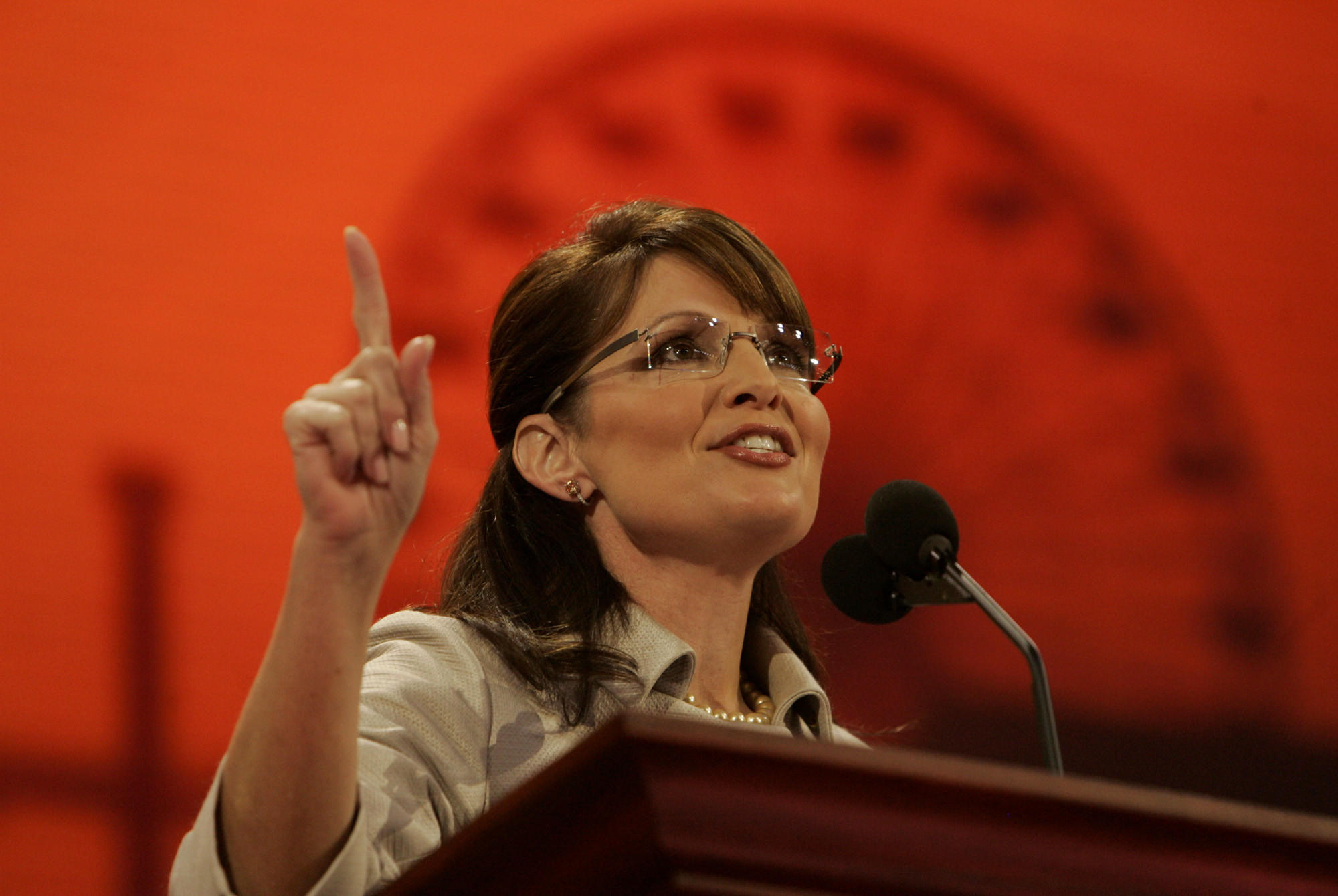 Former Alaska Gov. and vice presidential nominee Sarah Palin speaks at the Republican National Convention in Minnesota in 2008.