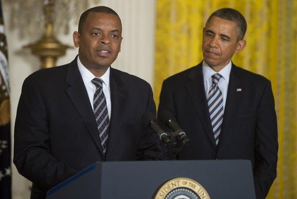 Charlotte, N.C., Mayor Anthony Foxx speaks alongside President Obama in the East Room of the White House after Obama announced Foxx as his nominee to be the next secretary of Transportation.