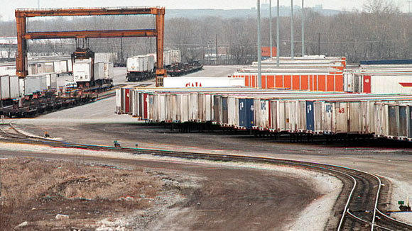 The Illinois Central intermodal yard in Harvey is shown in a 1998 file photo.