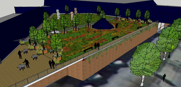 This conceptual drawing provided by Greening the Bend shows what a proposed green roof atop the South Bend Musuem of Art at Century Center might look like.