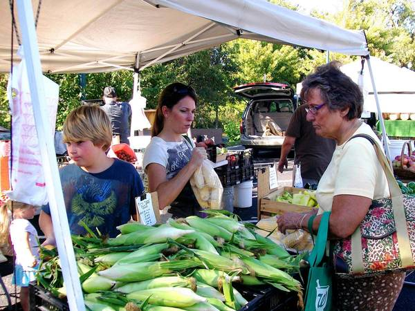 A woman purchases fresh sweet corn at Lockport's farmers market. This year's market, which kicks off June 3, runs from 4 to 8 p.m. on Mondays at Central Square.