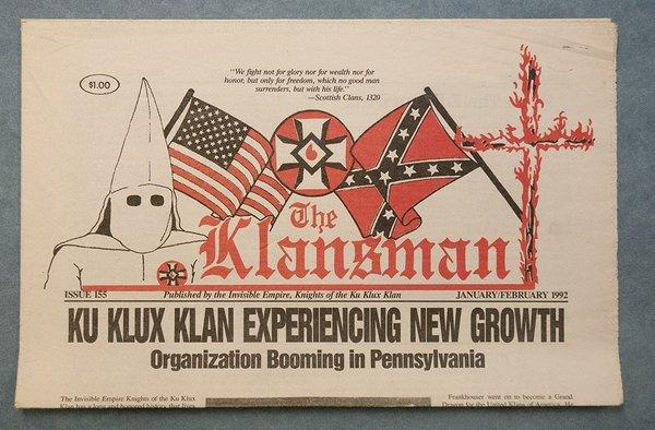 This copy of the Klansman, a Ku Klux Klan publication, is part of a trove of extremist papers and literature donated to the the David M. Rubenstein Rare Book & Manuscript Library at Duke University by the Southern Poverty Law Center last week.