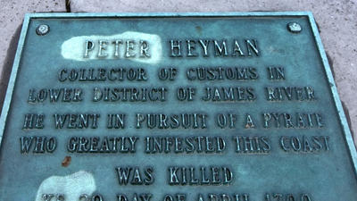 The headstone of a Hampton man killed by pirates