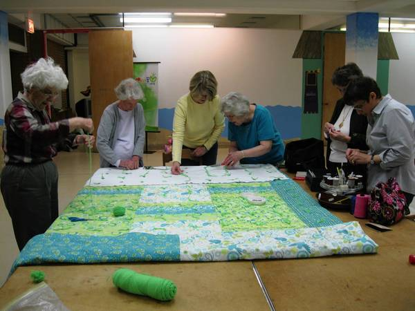 Zion Quilters at work.