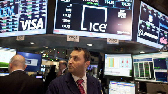 InterContinental Exchange data are shown on the New York Stock Exchange Dec. 20.