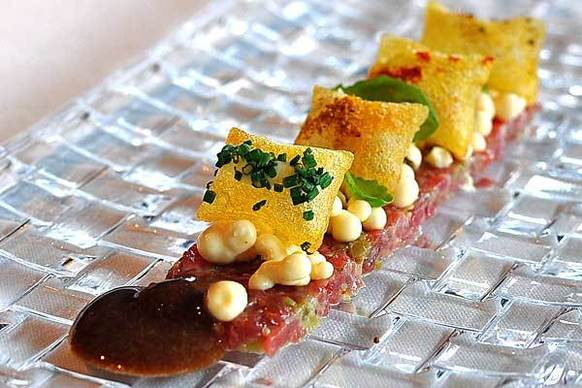 Steak tartar with mustard ice cream at El Celler De Can Roca. The restaurant, in Girona, Spain, ended a three-win streak by Noma.
