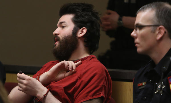 Defendant Daniel Baker talks to Lake County Judge Daniel B. Shanes during his sentencing hearing at the Lake County Courthouse in Waukegan on Monday. Baker was convicted in the murder of 50-year-old Marina Aksman in her Vernon Hills home on April 1, 2010. Baker was found guilty but mentally ill in November 2012.
