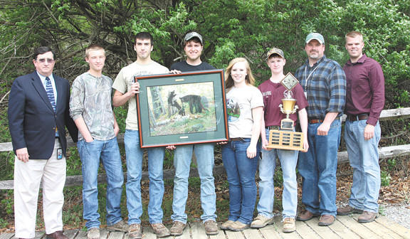 Clear Spring High School's team, The Trailblazers, took first place in the Washington County Envirothon. From left, George Phillips, supervisor of career technology programs for Washington County Public Schools, team members Ryan Yetter, Jordan Davis, Chance Younker, McKenzie Divelbiss, and Eric Yetter and coaches Cody Pine and Nathan Glenn.