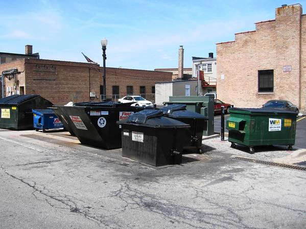 Village officials are considering an enclosure for these dumpsters near the downtown commuter lot.