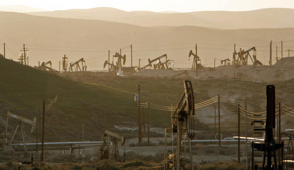 Oil rig pump jacks work the oil fields in Kern County, a primary area for fracking.