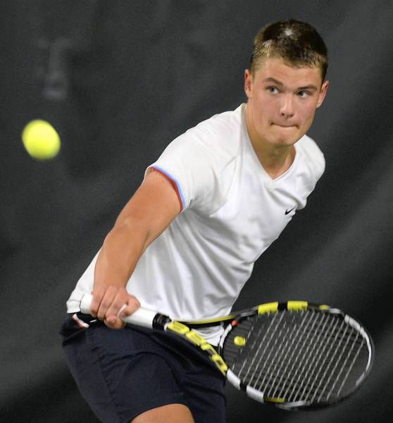Northwestern Lehigh's Henry Paiste competes in the District 11 Class 2A boys singles tennis finals held at Westend Racquet Club on Monday. Paiste won his third district title.