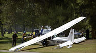 A small plane made an emergency landing at the Westlake Golf Course on Monday afternoon, resulting in non-life-threatening injuries to three people, Los Angeles County sheriff's officials said.