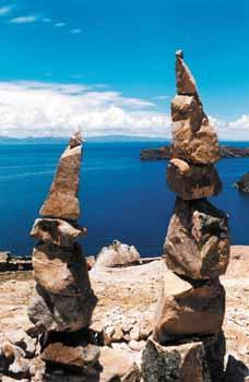 Sacred ruins on Isla del Sol, an island on Lake Titicaca.