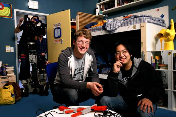 "Filmmakers Brandon Laatsch, left, and Freddie Wong on the set of their successful online series ""Video Game High School."""