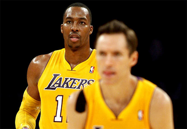 Lakers' Steve Nash, right, hopes to have Dwight Howard back on the team next season.