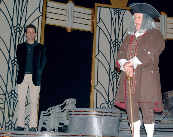 Totem Pole Playhouse Artistic Director Ray Ficca, left, shares the Fayetteville, Pa., theater's stage Monday with Ben Franklin, as portrayed by Bob Harrison.