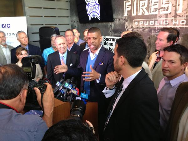 Sacramento Mayor Kevin Johnson speaks to the press on Monday after an NBA committee recommended against the Kings moving to Seattle.
