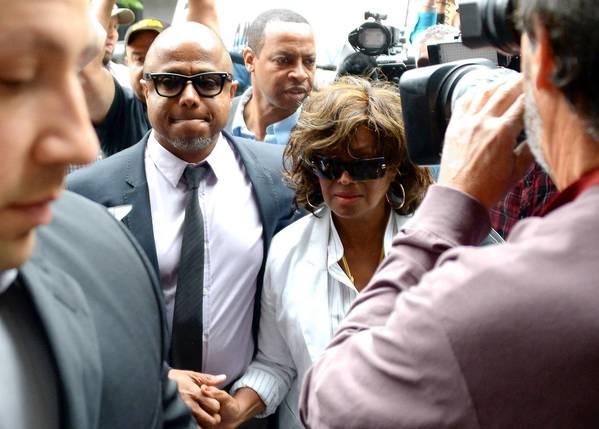 Randy and Rebbi Jackson, brother and sister of Michael Jackson, arrive at court Monday.