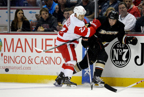 Anaheim Ducks left wing Matt Beleskey, right, is checked into the boards by Detroit Red Wings right wing Jordin Tootoo