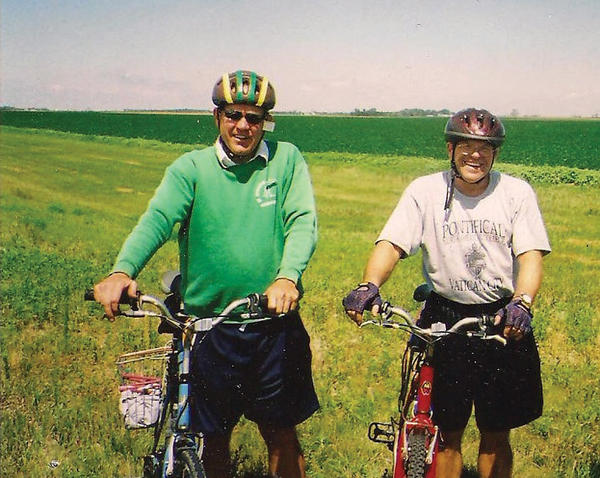The Rev. Terry Anderson, left, and the Rev. Mark Lichter are biking from the southern border of South Dakota to the North Dakota-South Dakota border to raise money for Catholic education. Courtesy photo