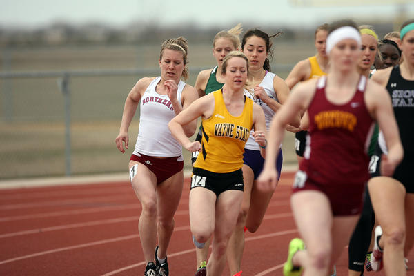 Northern State's Hannah Treinen, left, competes in the 800-meter run during the NSIC multi-events on Monday at Swisher Field.