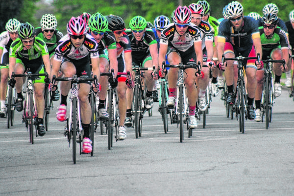 Cyclists participate in one of last year's bike races as part of the First Fridays festivities in downtown Goshen.