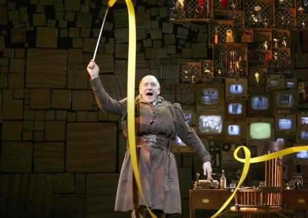 "Bertie Carvel (left) as Miss Trunchbull and Lauren Ward as Miss Honey in the Broadway production of ""Matilda."""