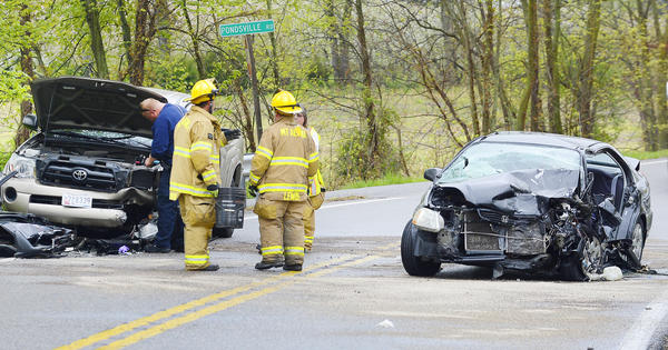 One person had to be cut from the wreckage after two vehicles collided in the area of Mapleville Road and Pondsville Road on Monday afternoon.