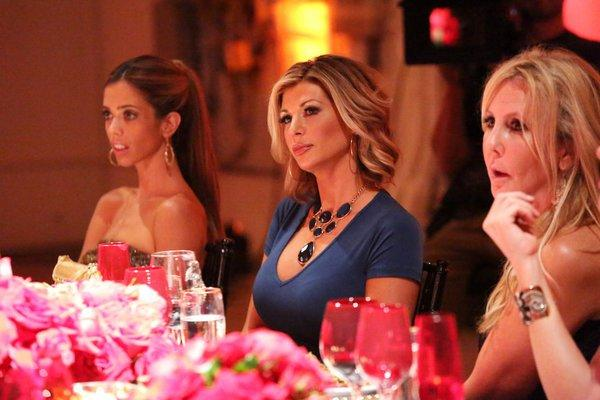 "L-R: Lydia McLaughlin, Alexis Bellino, Vicki Gunvalson on ""The Real Housewives of Orange County."""