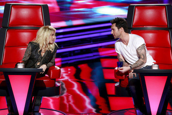 "Shakira and Adam Levine on ""The Voice."""