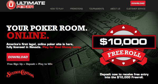 A legal online poker website, UltimatePoker.com, was launched Tuesday in Nevada.