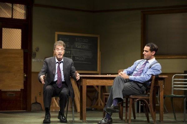 "Al Pacino, left, and Bobby Cannavale in ""Glengarry Glen Ross."""