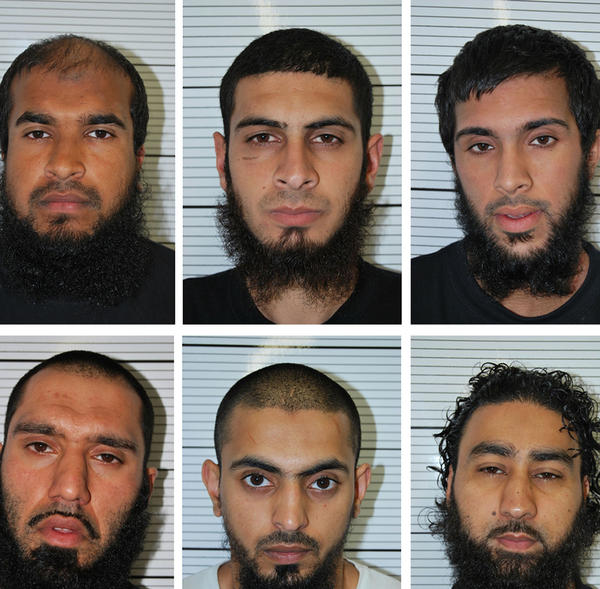 Police booking photos show, top left to right, Anzal Hussain, Mohammed Hasseen and Omar Mohammed Khan; bottom left to right, Jewel Uddin, Mohammed Saud and Zohaib Kamran Ahmed.