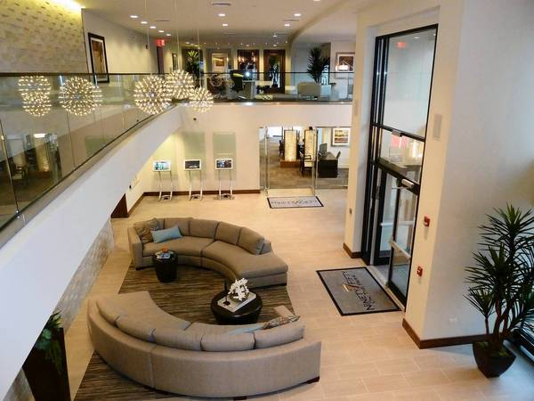 Amenities and some apartment units at the new Ninety7Fifty on the Park apartment complex in downtown Orland Park opened last week.