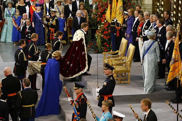 Dutch King Willem-Alexander of the Netherlands arrives with his wife Queen Maxima for his inauguration at the Nieuwe Kerk (New Church) in Amsterdam.