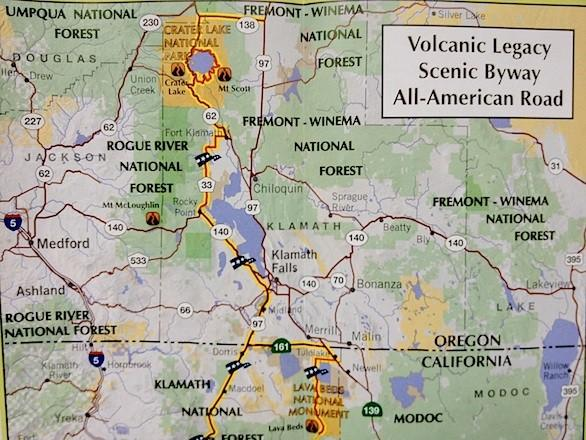 The Northern California Recreation Map provides an easy-to-follow scenic route from Mt. Lassen to Crater Lake.